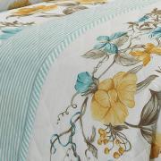 Kit: 1 Cobre-leito Casal + 2 Porta-travesseiros Percal 180 fios - Lara Azul - Dui Design