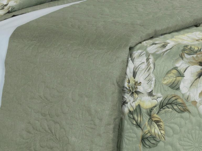 Kit: 1 Cobre-leito Casal Bouti de Microfibra Ultrasonic Estampada + 2 Porta-travesseiros - Laurel Verde - Dui Design
