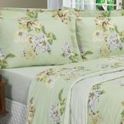Kit: 1 Cobre-leito Solteiro + 1 Porta-travesseiro 150 fios - Laurel Verde - Dui Design
