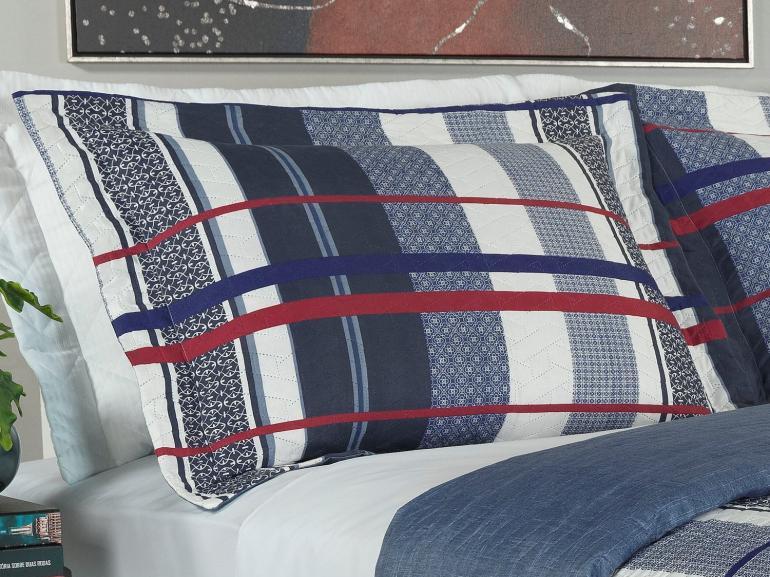 Kit: 1 Cobre-leito Solteiro Bouti de Microfibra Ultrasonic Estampada + 1 Porta-travesseiro - Laurent Indigo - Dui Design