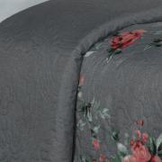 Kit: 1 Cobre-leito Queen Bouti de Microfibra Ultrasonic Estampada + 2 Porta-travesseiros - Layza Cinza - Dui Design