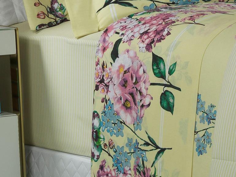 Jogo de Cama Queen Percal 200 fios - Leny Marfim - Dui Design
