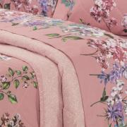 Kit: 1 Cobre-leito Solteiro + 1 Porta-travesseiro Percal 200 fios - Leny Rosa Velho - Dui Design