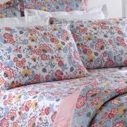 Kit: 1 Cobre-leito King + 2 Porta-travesseiros 150 fios - Leonora Vermelho - Santista