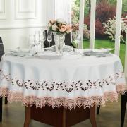Toalha de Mesa com Bordado Richelieu Redonda 180cm - Leticia Rose - Dui Design