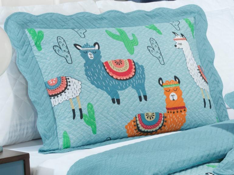 Kit: 1 Cobre-leito Solteiro Kids Bouti de Microfibra PatchWork Ultrasonic + 1 Porta-travesseiro - Lhama Azul - Dui Design