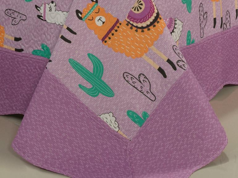 Kit: 1 Cobre-leito Casal Kids Bouti de Microfibra PatchWork Ultrasonic + 2 Porta-travesseiros - Lhama Lilás - Dui Design
