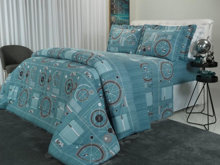 Jogo de Cama Queen Percal 180 fios - Liam Azul - Dui Design