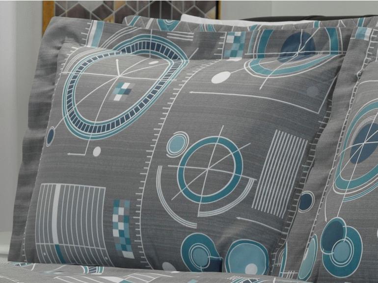 Jogo de Cama Queen Percal 180 fios - Liam Cinza - Dui Design