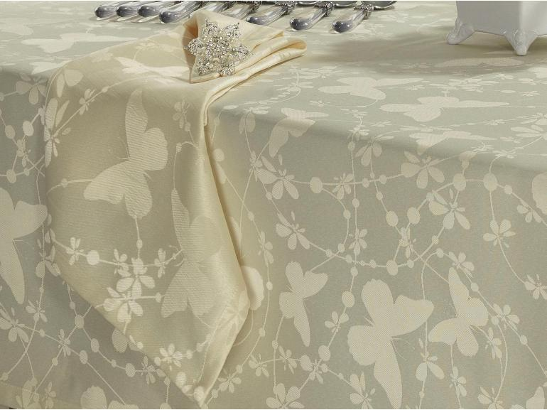 Toalha de Mesa Fácil de Limpar Quadrada 4 Lugares 160x160cm - Liberty Vanilla - Dui Design