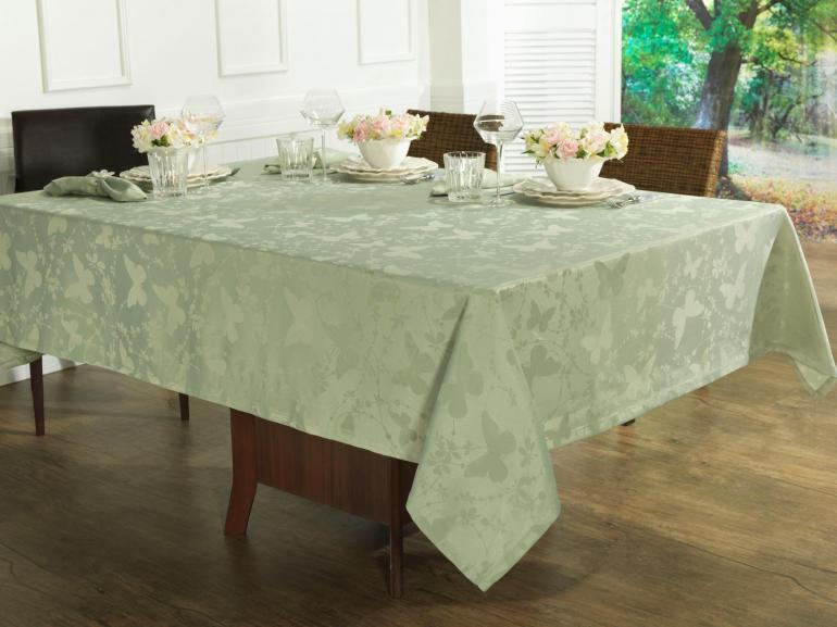Toalha de Mesa Fácil de Limpar Retangular 6 Lugares 160x220cm - Liberty Verde Claro - Dui Design