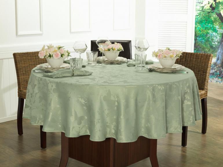 Toalha de Mesa Fácil de Limpar Redonda 160cm - Liberty Verde Claro - Dui Design