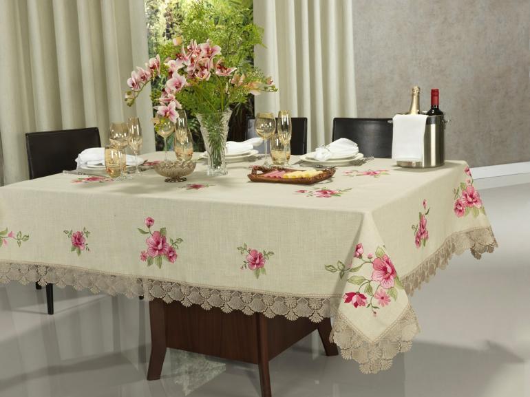 Toalha de Mesa de Linho com Bordado Richelieu Retangular 8 Lugares 160x270cm - Ligia Bege - Dui Design