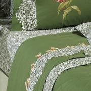 Jogo de Cama Solteiro Percal 200 fios 100% Algodão - Lily Verde - Dui Design