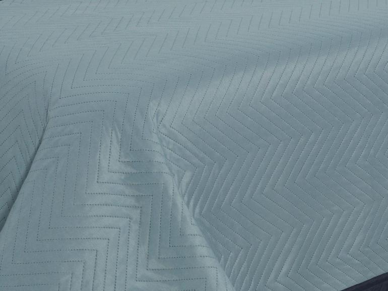 Kit: 1 Cobre-leito Casal Bouti de Microfibra Ultrasonic + 2 Porta-travesseiros - Lincon Indigo - Dui Design