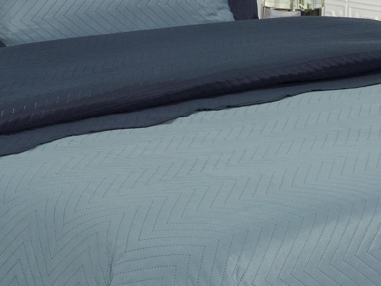 Kit: 1 Cobre-leito Solteiro Bouti de Microfibra Ultrasonic + 1 Porta-travesseiro - Lincon Indigo - Dui Design