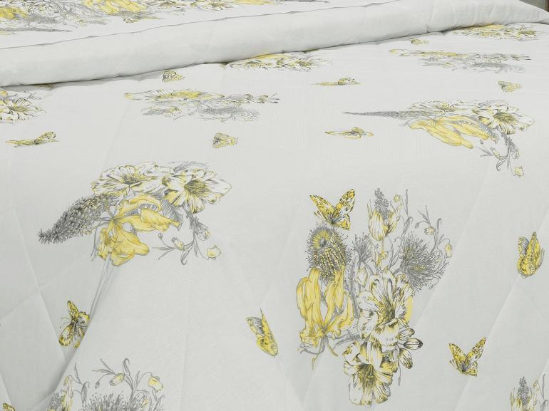 Kit: 1 Cobre-leito Solteiro + 1 Porta-travesseiro Percal 180 fios - Linda Cinza - Dui Design