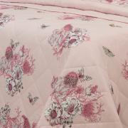 Kit: 1 Cobre-leito Solteiro + 1 Porta-travesseiro Percal 180 fios - Linda Rosa Velho - Dui Design