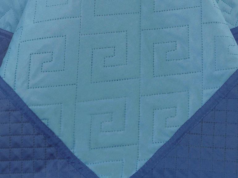 Kit: 1 Cobre-leito Solteiro Bouti de Microfibra Ultrasonic + 1 Porta-travesseiro - Linhares Azul e Indigo - Dui Design