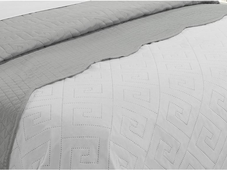 Kit: 1 Cobre-leito Queen Bouti de Microfibra Ultrasonic + 2 Porta-travesseiros - Linhares Branco e Cinza - Dui Design