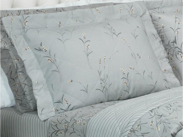 Kit: 1 Cobre-leito Casal + 2 Porta-travesseiros 150 fios - Lisa Grafite - Dui Design