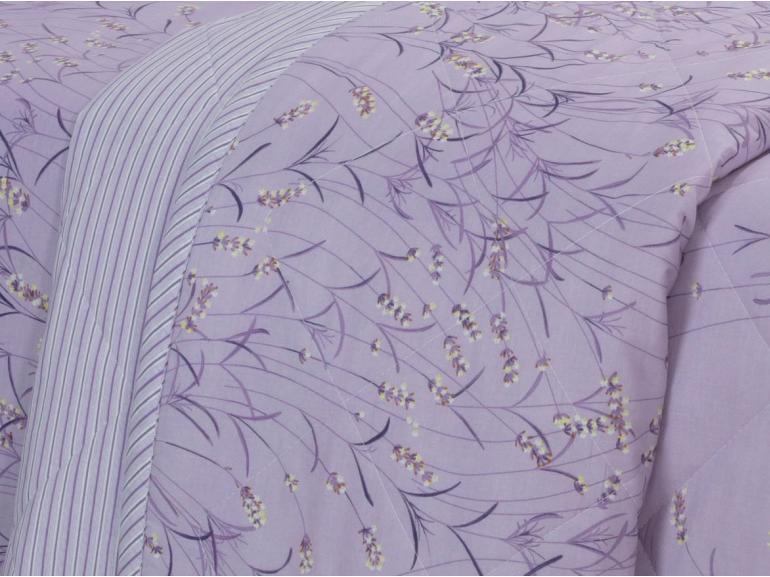 Kit: 1 Cobre-leito Casal + 2 Porta-travesseiros 150 fios - Lisa Lilás - Dui Design