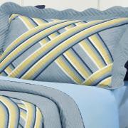 Kit: 1 Cobre-leito Queen Bouti de Microfibra Ultrasonic Estampada + 2 Porta-travesseiros - Lismore Azul - Dui Design