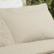 Kit: 1 Cobre-leito King + 2 Porta-travesseiros 150 fios - Listras Mix Bege - Dui Design