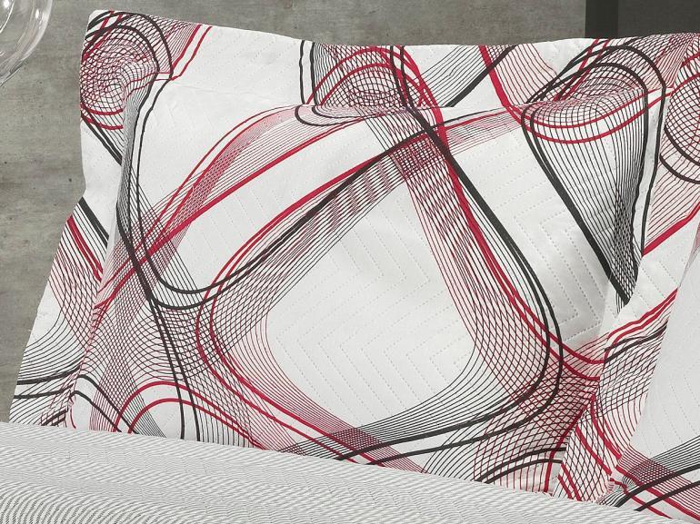 Kit: 1 Cobre-leito King Bouti de Microfibra Ultrasonic Estampada + 2 Porta-travesseiros - Loft Preto e Vermelho - Dui Design