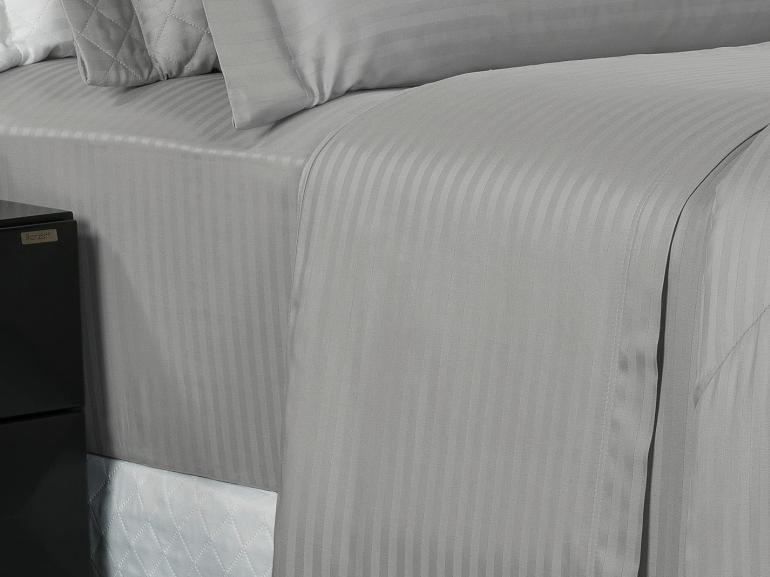 Jogo de Cama Queen Cetim 300 fios - London Cinza - Dui Design