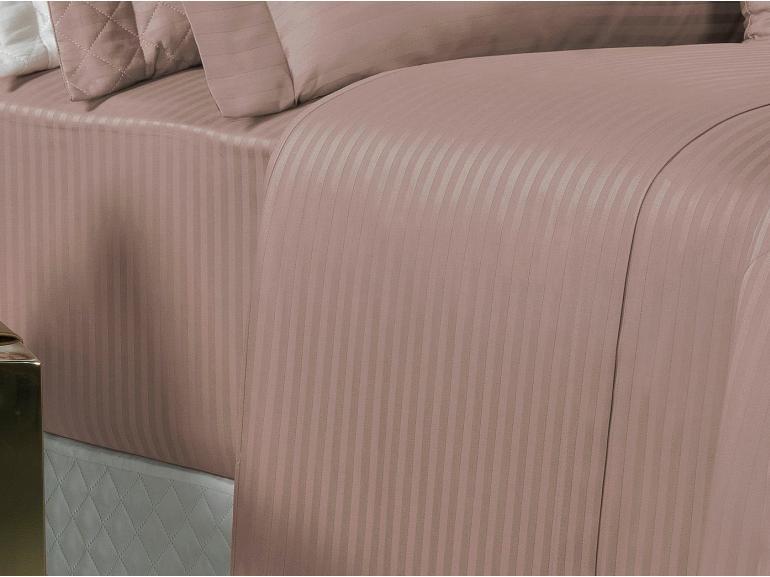 Jogo de Cama Queen Cetim 300 fios - London Rosa Velho - Dui Design