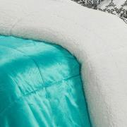 Edredom Solteiro Pele de Carneiro e Plush Micromink- Sherpa Londres Azul Bird - Dui Design