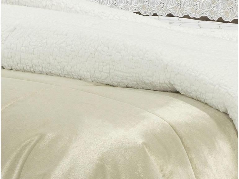 Edredom Queen Pele de Carneiro e Plush Micromink - Sherpa Londres Bege - Dui Design