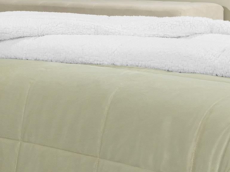 Edredom Solteiro Pele de Carneiro e Plush Micromink- Sherpa Londres Bege - Dui Design