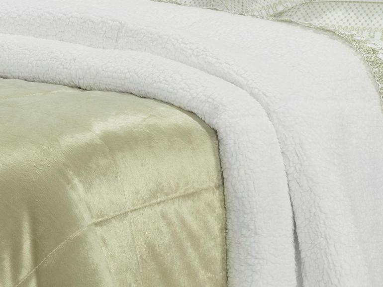 Edredom Solteiro Pele de Carneiro e Plush Micromink- Sherpa Londres Caqui - Dui Design