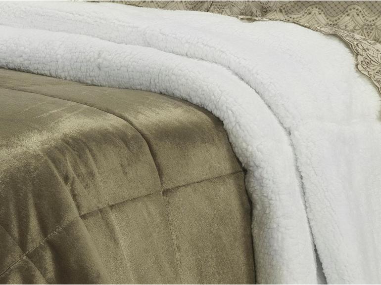 Edredom Solteiro Pele de Carneiro e Plush Micromink- Sherpa Londres Castanho - Dui Design