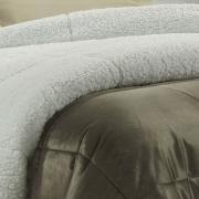 Edredom Casal Pele de Carneiro e Plush Micromink - Sherpa Londres Castanho - Dui Design
