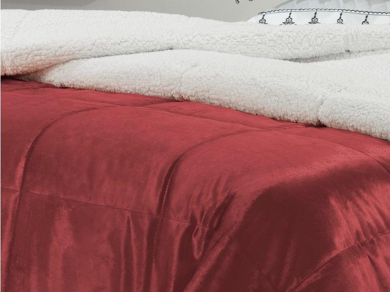 Edredom King Pele de Carneiro e Plush Micromink - Sherpa Londres Chilli Pepper - Dui Design