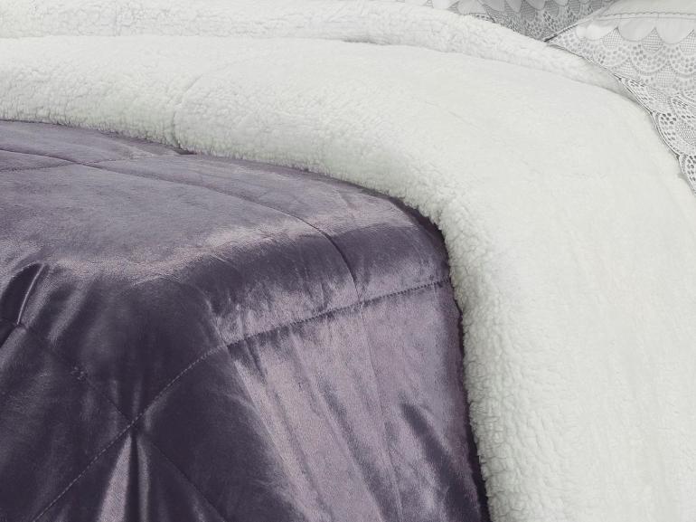 Edredom Solteiro Pele de Carneiro e Plush Micromink- Sherpa Londres Grape - Dui Design