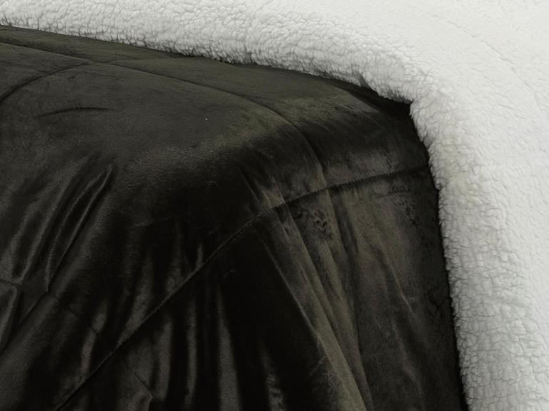 Edredom Queen Pele de Carneiro e Plush Micromink - Sherpa Londres Preto - Dui Design