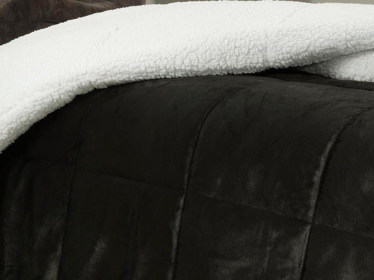 Edredom Casal Pele de Carneiro e Plush Micromink - Sherpa Londres Preto - Dui Design