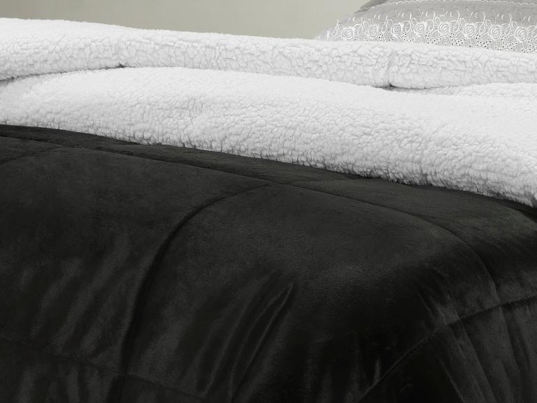 Edredom Solteiro Pele de Carneiro e Plush Micromink- Sherpa Londres Preto - Dui Design