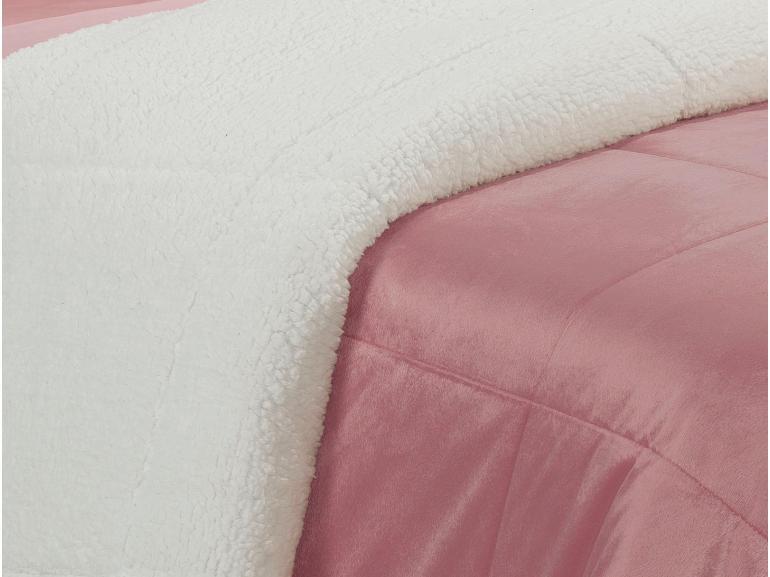 Edredom Casal Pele de Carneiro e Plush Micromink - Sherpa Londres Rosa Mauve - Dui Design