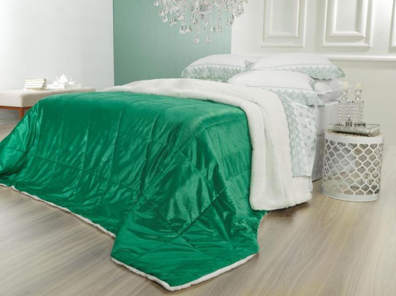 Edredom Queen Pele de Carneiro e Plush Micromink - Sherpa Londres Verde Ultramarine - Dui Design