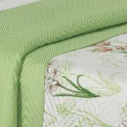 Kit: 1 Cobre-leito Casal Bouti de Microfibra Ultrasonic Estampada + 2 Porta-travesseiros - Lorena Verde - Dui Design