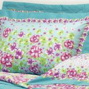 Kit: 1 Cobre-leito Solteiro + 1 Porta-travesseiro 150 fios 100% Algodão - Lucinda Lavanda - Dui Design