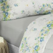 Jogo de Cama Queen Percal 180 fios - Lucineia Azul - Dui Design