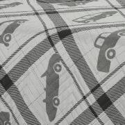 Kit: 1 Cobre-leito Solteiro Kids Bouti de Microfibra PatchWork Ultrasonic + 1 Porta-travesseiro - Luidgi Grafite - Dui Design