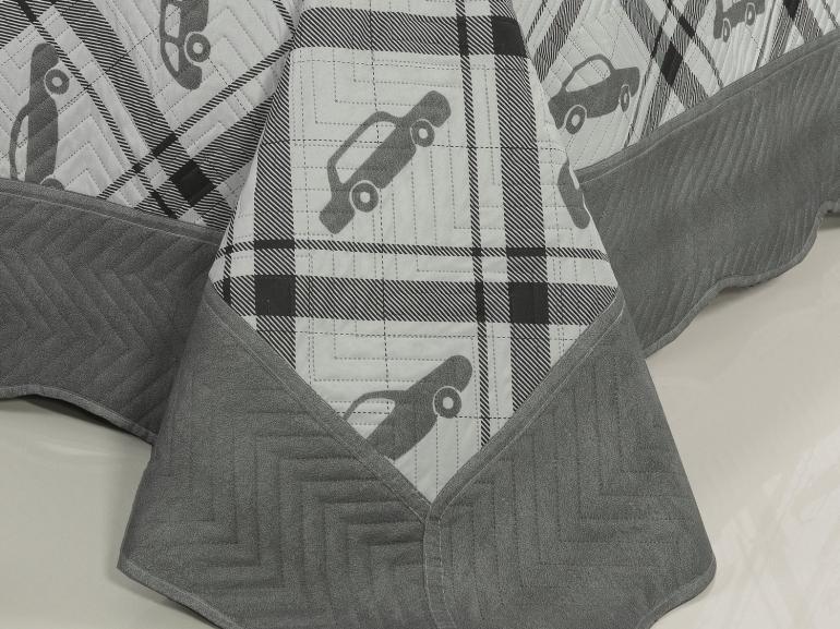 Kit: 1 Cobre-leito Casal Kids Bouti de Microfibra PatchWork Ultrasonic + 2 Porta-travesseiros - Luidgi Grafite - Dui Design