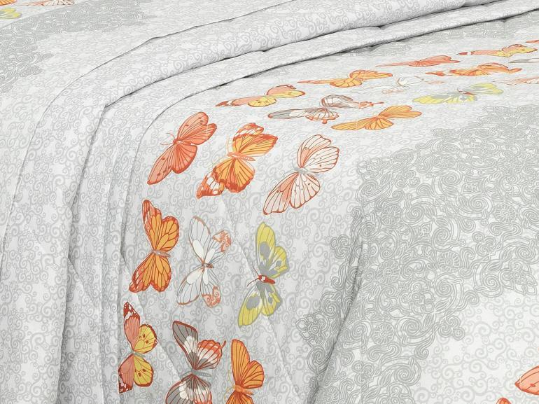 Kit: 1 Cobre-leito Solteiro + 1 Porta-travesseiro Percal 200 fios - Luna Cinza - Dui Design
